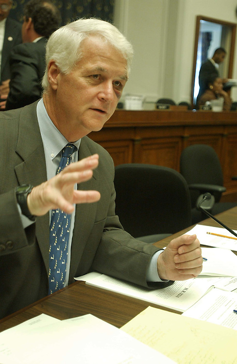 10/8/03.DNA MARKUP--Rep. Bill Delahunt, D-Mass., talks to reporters after the House Judiciary marksup of a bill that would allow death row inmates access to DNA testing to challenge their convictions. His left eye is bruised from a surgical procedure..CONGRESSIONAL QUARTERLY PHOTO BY SCOTT J. FERRELL