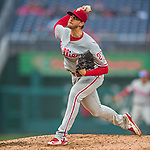 28 April 2016: Philadelphia Phillies starting pitcher Aaron Nola on the mound against the Washington Nationals at Nationals Park in Washington, DC. The Phillies shut out the Nationals 3-0 to sweep their mid-week, 3-game series. Mandatory Credit: Ed Wolfstein Photo *** RAW (NEF) Image File Available ***