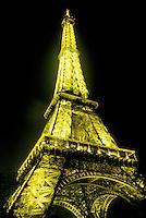 Eiffel Tower, Paris, France, Europe, The Eiffel Tower illuminated at night in Paris.