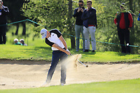 Defending Champion Alex Noren (NOR) plays his 2nd shot from a fairway bunker on the 17th hole during Thursday's Round 1 of the 2017 Omega European Masters held at Golf Club Crans-Sur-Sierre, Crans Montana, Switzerland. 7th September 2017.<br /> Picture: Eoin Clarke | Golffile<br /> <br /> <br /> All photos usage must carry mandatory copyright credit (&copy; Golffile | Eoin Clarke)