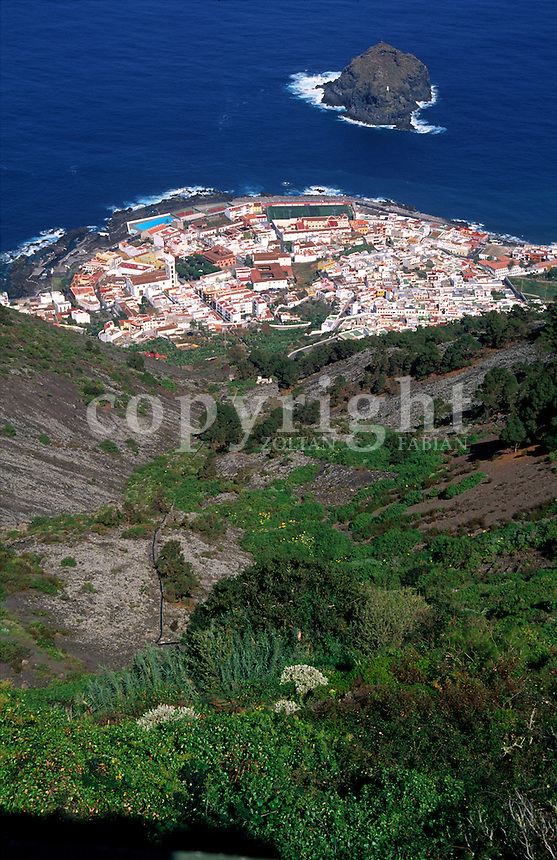 View of the city of Garachico from the mountain in Tenerife, Canary Islands, Spain, Europe