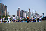 A minute of silence in tribute to the victims of the Manchester terrorist attach, before Discovery Bay (in white) vs playonPROS (in blue) during their Masters Tournament Plate Final match, part of the HKFC Citi Soccer Sevens 2017 on 28 May 2017 at the Hong Kong Football Club, Hong Kong, China. Photo by Marcio Rodrigo Machado / Power Sport Images