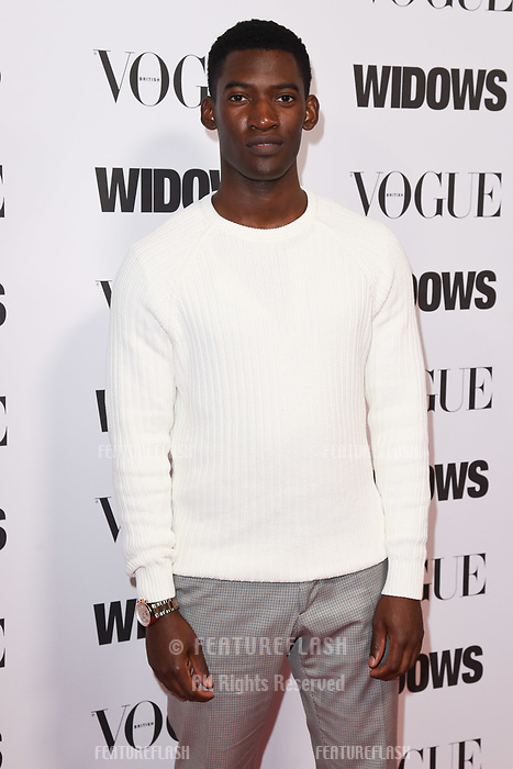 """LONDON, UK. October 31, 2018: Malachi Kirby at the """"Widows"""" special screening in association with Vogue at the Tate Modern, London.<br /> Picture: Steve Vas/Featureflash"""