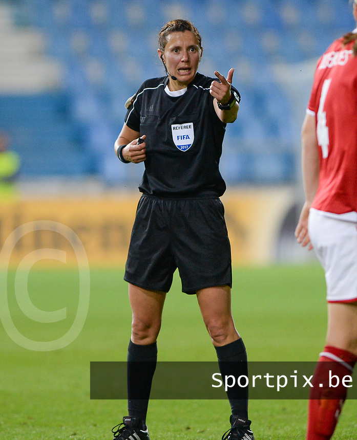 20170716 - DOETINCHEM , NETHERLANDS : ukrainian referee Kateryna Monzul pictured during the female soccer game between Denmark and the Belgian Red Flames  , the frist game in group A at the Women's Euro 2017 , European Championship in The Netherlands 2017 , Sunday 16 th June 2017 at Stadion de Vijverberg in Doetinchem , The Netherlands PHOTO SPORTPIX.BE | DAVID CATRY