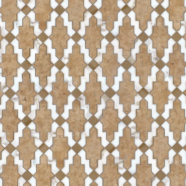 Navarra, a waterjet stone mosaic, shown in honed Lagos Gold (formally Fireclay - no longer available)and Lavigne with polished Calacatta Tia, is part of the Miraflores Collection by Paul Schatz for New Ravenna.