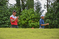 Yuxin LIN (CHN) and Lloyd Jefferson GO (PHI) use range finders on the tee on 7 during Rd 4 of the Asia-Pacific Amateur Championship, Sentosa Golf Club, Singapore. 10/7/2018.<br /> Picture: Golffile | Ken Murray<br /> <br /> <br /> All photo usage must carry mandatory copyright credit (© Golffile | Ken Murray)