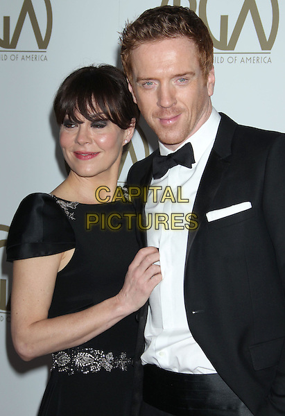 Helen McCrory & Damian Lewis.At the 24th Annual Producers Guild Awards held at the Beverly Hilton Hotel, Beverly Hills, California, USA,.26th January 2013..PGAs PGA arrivals half length married husband wife hand black bow tie white shirt tuxedo   .CAP/ADM/RE.©Russ Elliot/AdMedia/Capital Pictures.