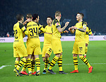 16.03.2019, OLympiastadion, Berlin, GER, DFL, 1.FBL, Hertha BSC VS. Borussia Dortmund, <br /> DFL  regulations prohibit any use of photographs as image sequences and/or quasi-video<br /> <br /> im Bild 1: 1 durch Thomas Delaney (Borussia Dortmund #6), Marius Wolf (Borussia Dortmund #27), Christian Pulisic (Borussia Dortmund #22), Marco Reus (Borussia Dortmund #11), Jacob Bruun Larsen (Borussia Dortmund #34), Julian Weigl (Borussia Dortmund #33)<br /> <br />       <br /> Foto © nordphoto / Engler