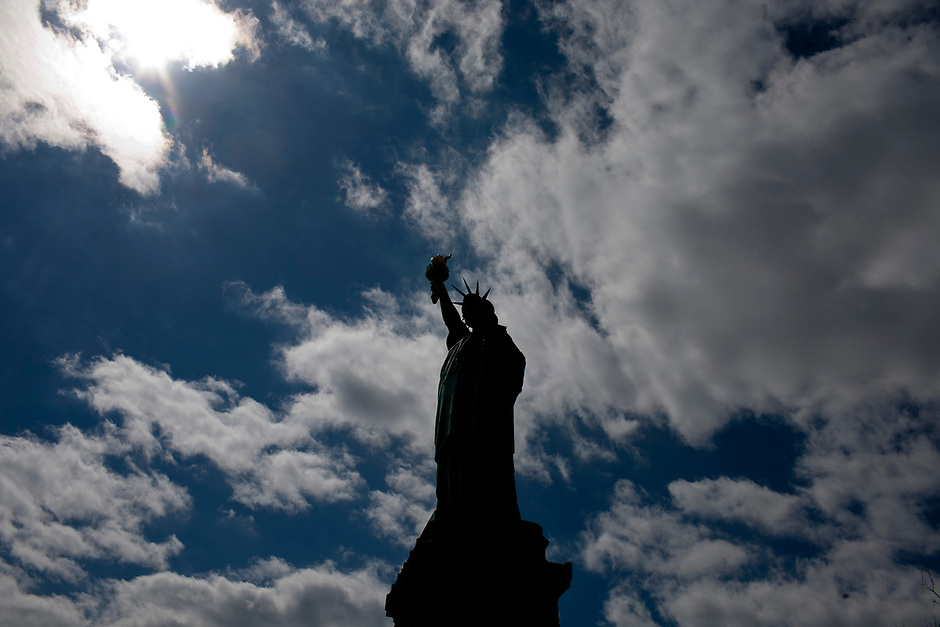 The Statue of Liberty is seen on Saturday, April 5, 2014, in New York. (Photo by James Brosher)