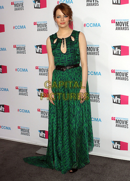 Emma Stone.17th Annual Critics Choice Movie Awards - Arrivals held at the Hollywood Palladium, Los Angeles, California, USA, 12th January 2012..arrivals full length green print dress black maxi sleeveless cut out belt .CAP/ADM/KB.©Kevan Brooks/AdMedia/Capital Pictures.