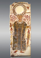 "5th century Eastern Roman Byzantine  funerary mosaic from Tarbaka in the Roman province of Africa Proconsularis , present day Tunisia, with a crown at the top probably a Christogram  (Latin Monogramma Christi ) is a monogram used as an abbreviation for the name of Jesus Christ, with a figure below and a latin text for the deceased "" Covuldeus in peace"". Either side of the figure are a lit candle which symbolises eternal faith. The Bardo National Museum, Tunis Tunisia.   Against a grey background.<br />