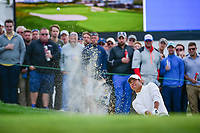 Hideki Matsuyama (JPN) hits from the sand on 16 during round 3 Four-Ball of the 2017 President's Cup, Liberty National Golf Club, Jersey City, New Jersey, USA. 9/30/2017.<br /> Picture: Golffile | Ken Murray<br /> <br /> All photo usage must carry mandatory copyright credit (&copy; Golffile | Ken Murray)