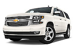 Stock pictures of low aggressive front three quarter view of a 2015 Chevrolet Suburban 4WD 1500 LTZ 5 Door Suv Low Aggressive