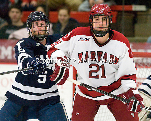 Nick Jaskowiak (Yale - 5), Marshall Everson (Harvard - 21) - The Harvard University Crimson defeated the visiting Yale University Bulldogs 8-2 in the third game of their ECAC Quarterfinal matchup on Sunday, March 11, 2012, at Bright Hockey Center in Cambridge, Massachusetts.