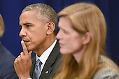 (L-R) United States President Barack Obama and Samantha Power, United States Ambassador to the United Nations, attend a bilateral meeting with Prime Minister Haider al-Abadi of Iraq at the Lotte New York Palace Hotel in New York, NY, on September 19, 2016. <br /> Credit: Anthony Behar / Pool via CNP