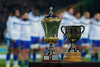 The series trophies stand on display before the Steinlager Series international rugby match between the New Zealand All Blacks and France at Eden Park in Auckland, New Zealand on Saturday, 9 June 2018. Photo: Dave Lintott / lintottphoto.co.nz