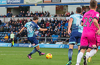 Scott Kashket of Wycombe Wanderers scores his first goal during the Sky Bet League 2 match between Wycombe Wanderers and Hartlepool United at Adams Park, High Wycombe, England on 26 November 2016. Photo by Andy Rowland / PRiME Media Images.