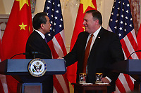 Washington, DC - May 23, 2018:  U.S. Secretary of State Michael Pompeo meets with Chinese State Councilor and Foreign Minister Wang Yi at the Department of State in Washington, D.C. May 23, 2018.  (Photo by Don Baxter/Media Images International)