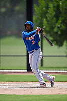 GCL Mets right fielder Edinson Valdez (3) follows through on a swing during a game against the GCL Nationals on August 4, 2018 at FITTEAM Ballpark of the Palm Beaches in West Palm Beach, Florida.  GCL Nationals defeated GCL Mets 7-4.  (Mike Janes/Four Seam Images)