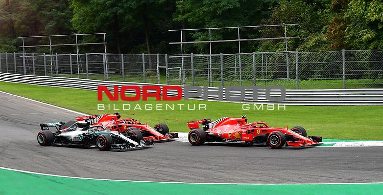02.09.2018, Autodromo di Monza, Monza, FORMULA 1 GRAN PREMIO HEINEKEN D'ITALIA 2018<br />,im Bild<br />Unfall zwischen Sebastian Vettel (GER#5), Scuderia Ferrari und Lewis Hamilton (GB#44), Mercedes AMG Petronas Formula One Team in der zweiten Schickane, Sebastian Vettel (GER#5), Scuderia Ferrari dreht sich<br /> <br /> Foto © nordphoto / Bratic