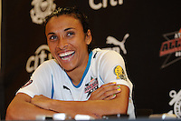 Marta during the Women's Professional Soccer (WPS) All-Star Game post-game interview at KSU Stadium in Kennesaw, GA, on June 30, 2010.