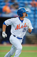 St. Lucie Mets right fielder Jacob Zanon (21) runs to first base during the first game of a doubleheader against the Charlotte Stone Crabs on April 24, 2018 at First Data Field in Port St. Lucie, Florida.  St. Lucie defeated Charlotte 5-3.  (Mike Janes/Four Seam Images)