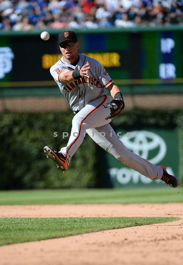 San Francisco Giants Joe Panik (12) during a game against the Chicago Cubs on September 3, 2016 at Wrigley Field in Chicago, IL. The Giants beat the Cubs 3-2.