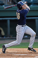 Third baseman Jordan Frabasilio (16) of the University of Pittsburgh Panthers bats in a game against the Presbyterian Blue Hose on Tuesday, March 11, 2014, at Fluor Field at the West End in Greenville, South Carolina. Pitt won, 12-3. (Tom Priddy/Four Seam Images)