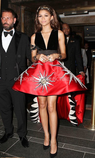 WWW.ACEPIXS.COM<br /> <br /> May 4 2015, New York City<br /> <br /> Zendaya on the night of the Met Gala on May 4 2015 in New York City<br /> <br /> By Line: Nancy Rivera/ACE Pictures<br /> <br /> <br /> ACE Pictures, Inc.<br /> tel: 646 769 0430<br /> Email: info@acepixs.com<br /> www.acepixs.com