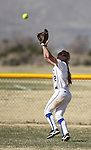 Western Nevada College outfielder Jennie Quam makes a catch against Colorado Northwestern on Friday, April 6, 2012, in Carson City, Nev..Photo by Cathleen Allison
