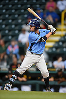 Charlotte Stone Crabs catcher Maxx Tissenbaum (8) at bat during a game against the Bradenton Marauders on April 20, 2015 at McKechnie Field in Bradenton, Florida.  Charlotte defeated Bradenton 6-2.  (Mike Janes/Four Seam Images)