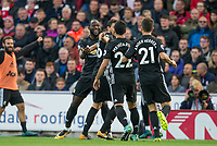 Teammates celebrate with goalscorer Romelu Lukaku of Man Utd during the Premier League match between Stoke City and Manchester United at the Britannia Stadium, Stoke-on-Trent, England on 9 September 2017. Photo by Andy Rowland.