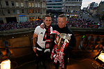 Hometown boys Billy Sharp of Sheffield Utd and Chris Wilder manager of Sheffield Utd during the open top bus parade from Bramall Lane Stadium to Sheffield Town Hall, Sheffield. Picture date: May 2nd 2017. Pic credit should read: Simon Bellis/Sportimage