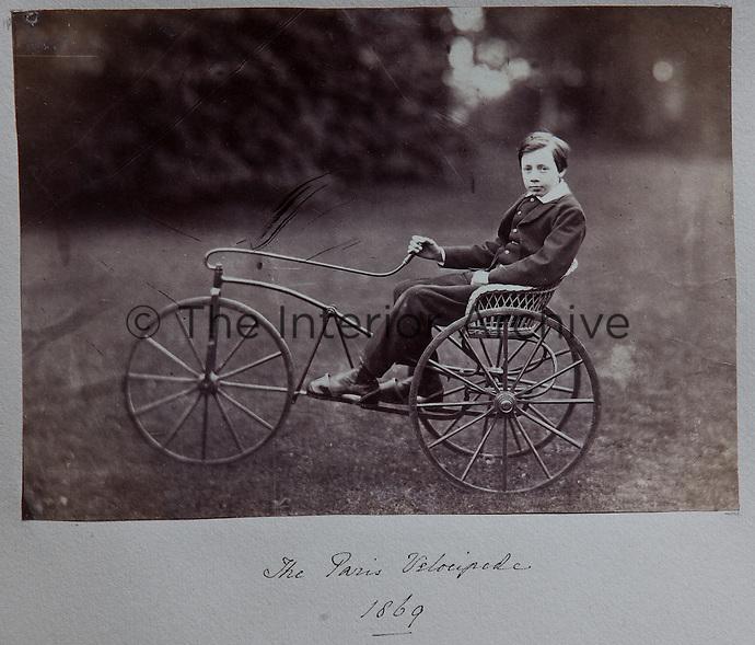 A Paris velocipede, steered by Robert Dundas, eldest son of the Victorian laird, 1869