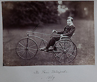 A Paris velocipede, steered by Robert Dundas, eldest son of the Victorian laird, 1869