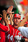 24 May 2009: Washington Nationals' first baseman Adam Dunn celebrates hitting a Grand Slam against the Baltimore Orioles at Nationals Park in Washington, DC. Dunn hit two home runs for the day for 6 RBIs, including his Slam as the Nationals rallied to defeat the Orioles 8-5 and salvage one win of their interleague series. Mandatory Credit: Ed Wolfstein Photo