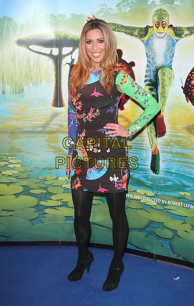 Kate Walsh.'Cirque Du Soleil: Totem' UK Premiere, Royal Albert Hall, London, England..5th January 2012.full length black tights dress green pink print blue purple hand on hip.CAP/ROS.©Steve Ross/Capital Pictures