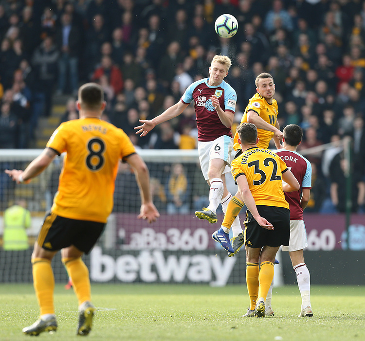 Burnley's Ben Mee wins an aerial ball<br /> <br /> Photographer Rich Linley/CameraSport<br /> <br /> The Premier League - Burnley v Wolverhampton Wanderers - Saturday 30th March 2019 - Turf Moor - Burnley<br /> <br /> World Copyright © 2019 CameraSport. All rights reserved. 43 Linden Ave. Countesthorpe. Leicester. England. LE8 5PG - Tel: +44 (0) 116 277 4147 - admin@camerasport.com - www.camerasport.com