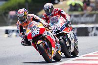 Dani Pedrosa of Spain and Repsol Honda Team and Andrea Dovizioso of Italy and Ducati Team during the race of  MotoGP of Catalunya at Circuit de Catalunya on June 11, 2017 in Montmelo, Spain.(ALTERPHOTOS/Rodrigo Jimenez) (NortePhoto.com) (NortePhoto.com)