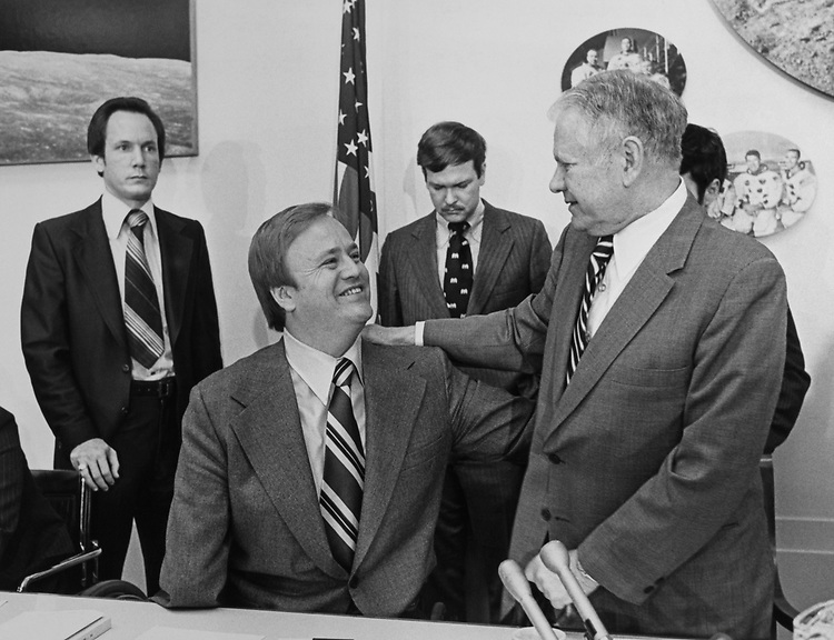 Rep. Olin E. Teague, D-Tex., and Max Cleland in the Science and Technology Committee office in 1978. (Photo by Dev O'Neill/CQ Roll Call)