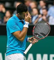 10-02-14, Netherlands,Rotterdam,Ahoy, ABNAMROWTT,, , Jo-Wilfried Tsonga(FRA) frustrated in his match against Florian Mayer <br /> Photo:Tennisimages/Henk Koster