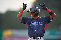 Lowell Spinners Antoni Flores (19) motions to his bench during a NY-Penn League game against the Batavia Muckdogs on July 10, 2019 at Dwyer Stadium in Batavia, New York.  Batavia defeated Lowell 8-6.  (Mike Janes/Four Seam Images)