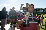 Puni captain S. Foster with the Bob Chandler Memorial cup. Bob Chandler Memorial final - Senior 1 Championship, Puni vs Waiuku. Puni won 15 - 13. Counties Manukau club rugby finals played at Growers Stadium, Pukekohe, 24th of June 2006.