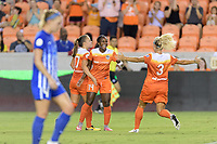 Houston, TX - Saturday July 22, 2017: Nichelle Prince celebrates her goal with Rachel Daly and Andressa Cavalari Machry during a regular season National Women's Soccer League (NWSL) match between the Houston Dash and the Boston Breakers at BBVA Compass Stadium.