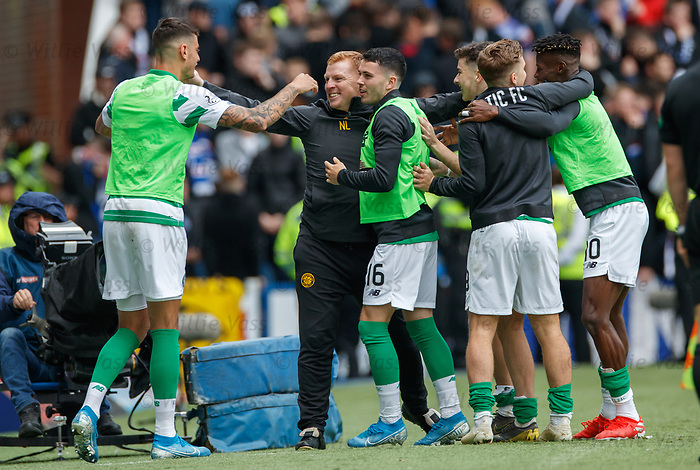 01.09.2019 Rangers v Celtic: Neil Lennon celebrates Celtic's second goal
