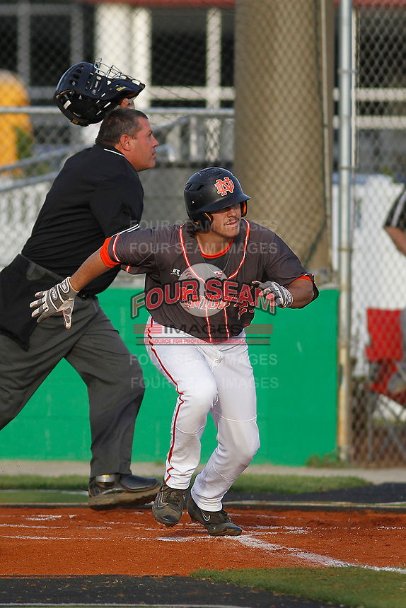 North Davidson High School Black Knights center fielder  Austin Beck (23)  at bat during a game against the West Brunswick High School Trojans at Mike Alderson Field  on April 12, 2017 in Shallotte, North Carolina. North Davidson defeated West Brunswick 7-3. (Robert Gurganus/Four Seam Images)