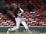 BOSTON, MA - APRIL 17: UMass' Logan Greene hits a walk-off sac fly during the Minutemen's 10-9 win over Harvard during the 30th Annual Baseball Beanpot Championship Game at Fenway Park in Boston, Massachusetts on April 17, 2019. Photo by Christopher Evans