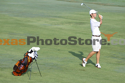 University of Texas senior Brax McCarthy hits from the fairway during the Carpet Capital Collegiate at The Farm Golf Club in Rocky Face, Ga., on Saturday, Sept. 7. The Longhorns return to The Farm as defending champions after shooting a 13-under 851 in 2012.<br /> <br /> Photo by Patrick Smith