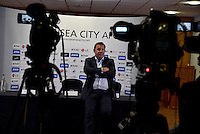 Pictured: Television cameras point to the empty top table Thursday 21 July 2016<br /> Re: The press conference to announce the new US owners of Swansea City FC, which was due to take place at the Liberty Stadium, has been cancelled.
