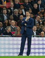 England Caretaker Manager (Head Coach) Gareth Southgate has a think during the International Friendly match between England and Spain at Wembley Stadium, London, England on 15 November 2016. Photo by Andy Rowland.